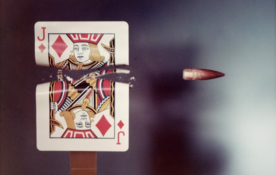 Jack of Diamonds playing card hit by a .30 calibre bullet, 1970, Dr Harold (Eugene) Edgerton, © Massachusetts Institute of Technology, National Science and Media Museum