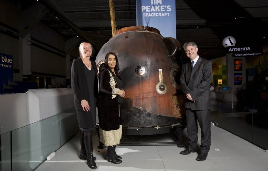 Jo Quinton-Tulloch, Naz Shah and Philip Davies with Soyuz TMA-19M