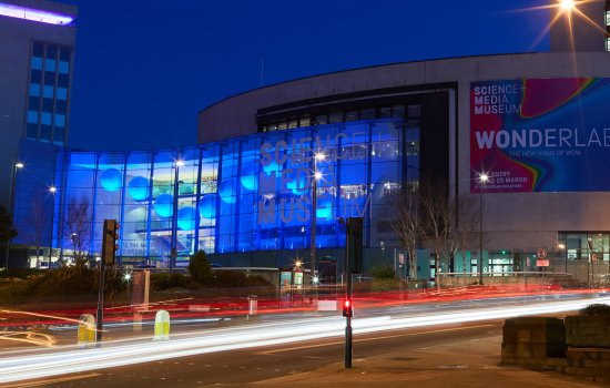 The National Science and Media Museum in Bradford by night
