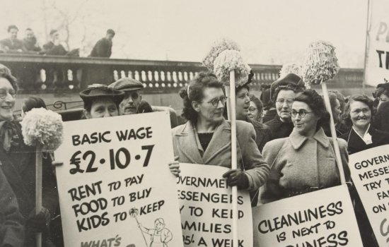 Cleaners protesting against low salaries in Whitehall, London