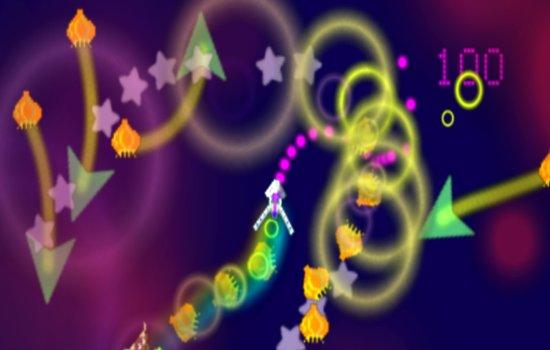 A screenshot from a Llamasoft game designed by Jeff Minter