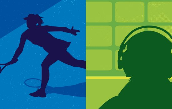 Image shows silhouettes of a tennis player and a commentator against a bright blue and green background
