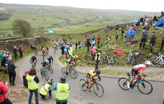 The women's peloton of the Tour de Yorkshire climbs up Cote de Lofthouse in Upper Nidderdale