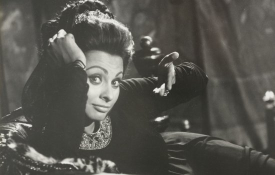 A black-and-white photograph of Sophia Loren on set