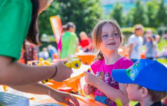 Children taking part in outdoor activities at Bradford Science Festival