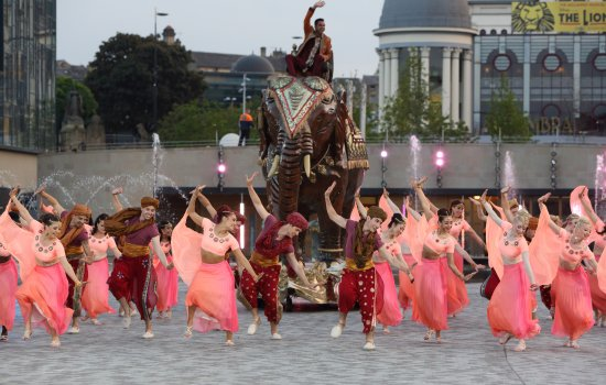 Bollywood performers dancing in City Park