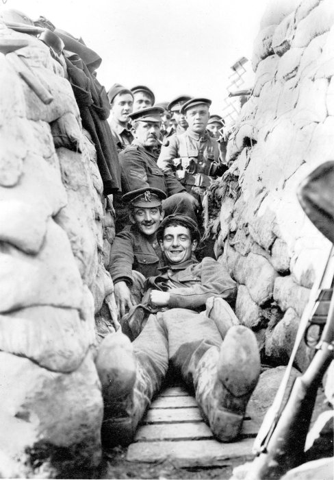 Men of 1/5 York and Lancaster Regiment in International Trench near the Yser Canal north of Ypres, 1915. © Jon Cooksey