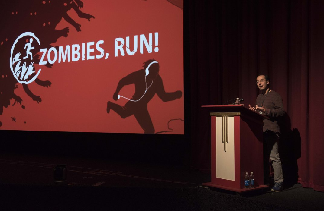Adrian Hon of Six to Start gives his talk 'Games for Health' at Yorkshire Games Festival 2016