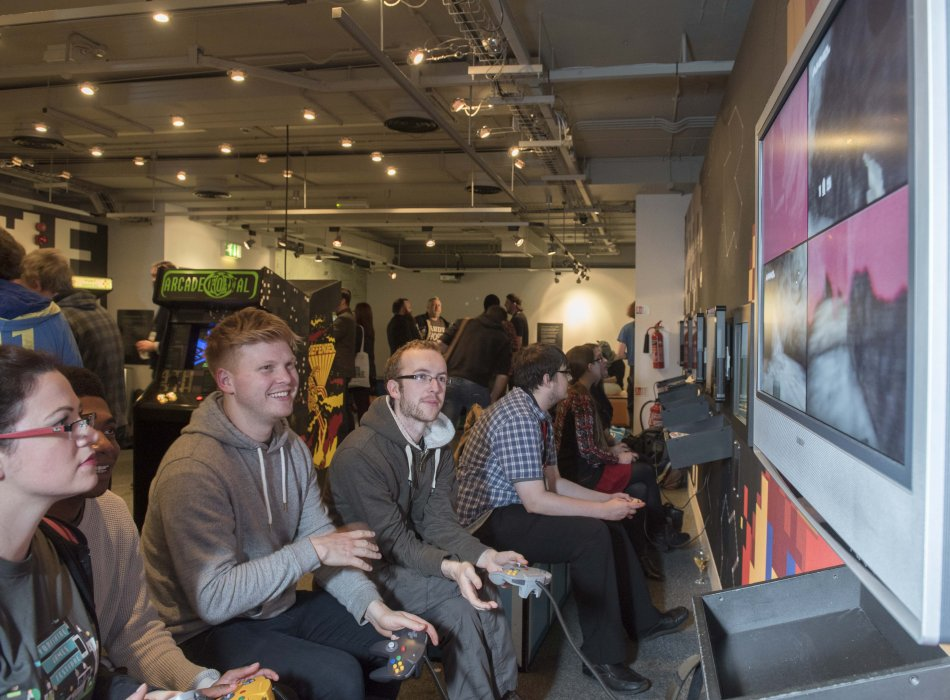 The Yorkshire Games Festival 2016 delegate reception in the Games Lounge