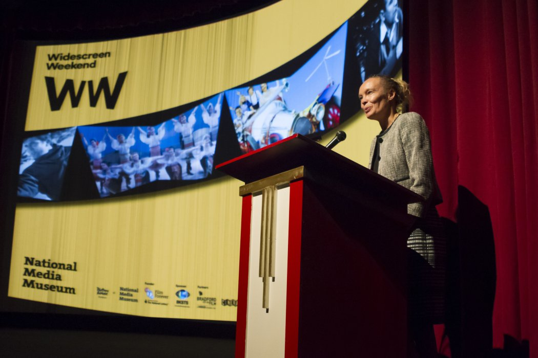 Museum director Jo Quinton-Tulloch speaking at the opening night of Widescreen Weekend 2016