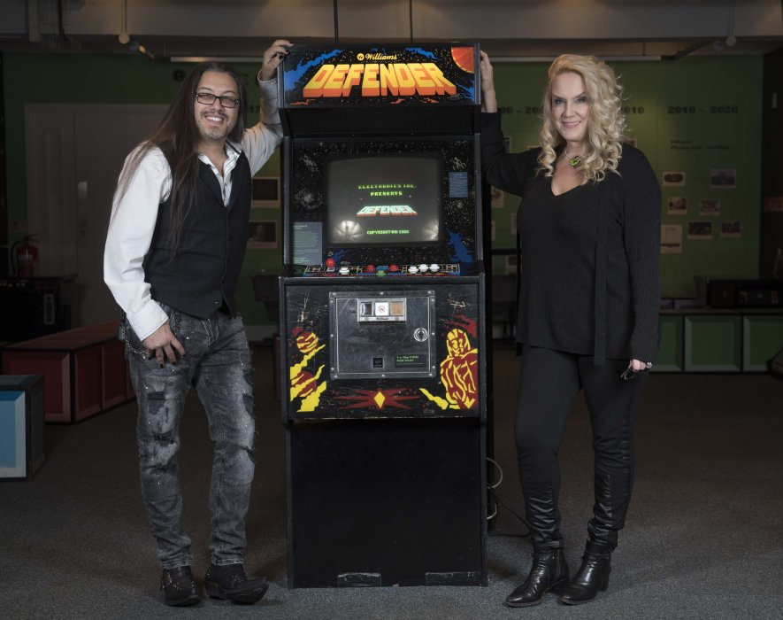 John and Brenda Romero visit the Games Lounge during Yorkshire Games Festival 2016