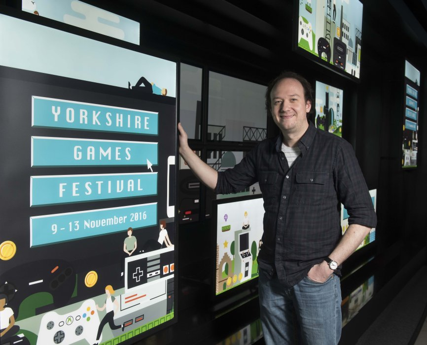 Kevin Carthew of Team17, the studio behind Worms, at Yorkshire Games Festival 2016