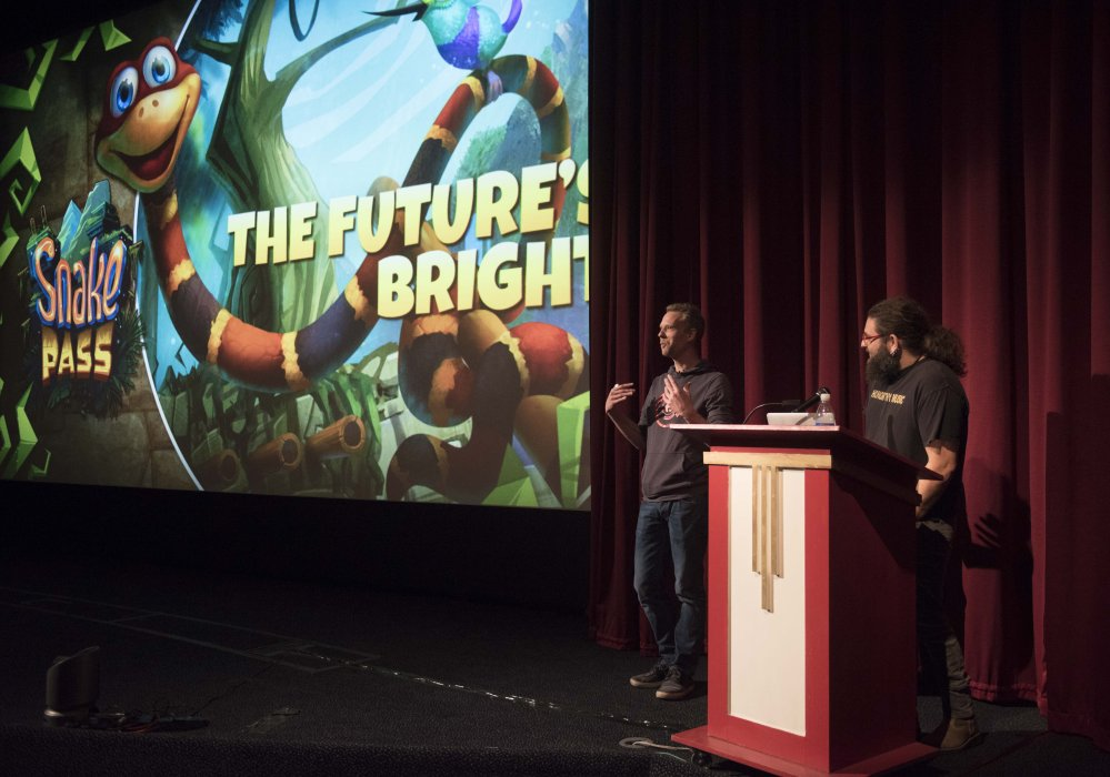 Sean Millard and Seb Liese of Sumo Digital speak about their game Snake Pass at Yorkshire Games Festival 2016