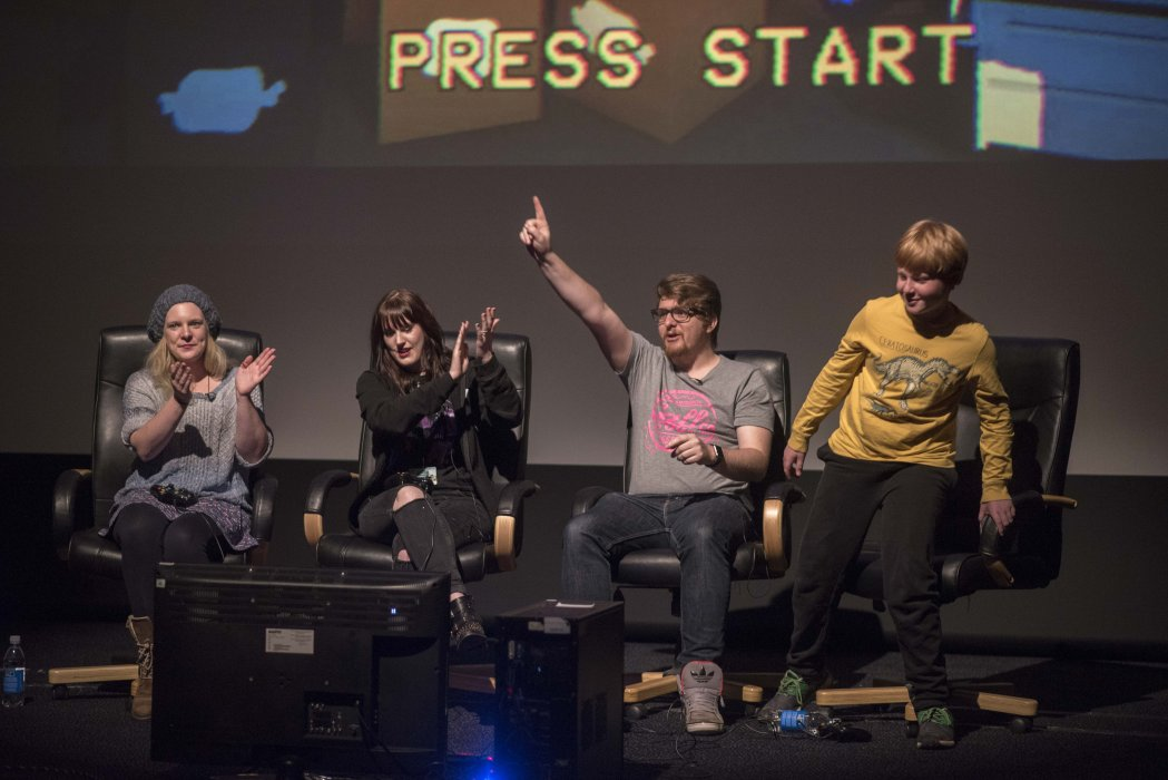 Stars of The Yogscast host a live big-screen gameplay session at Yorkshire Games Festival 2016