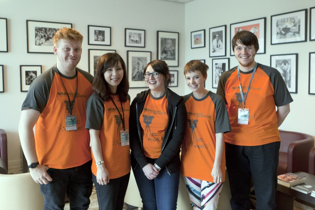 A group of events volunteers at our Widescreen Weekend film festival