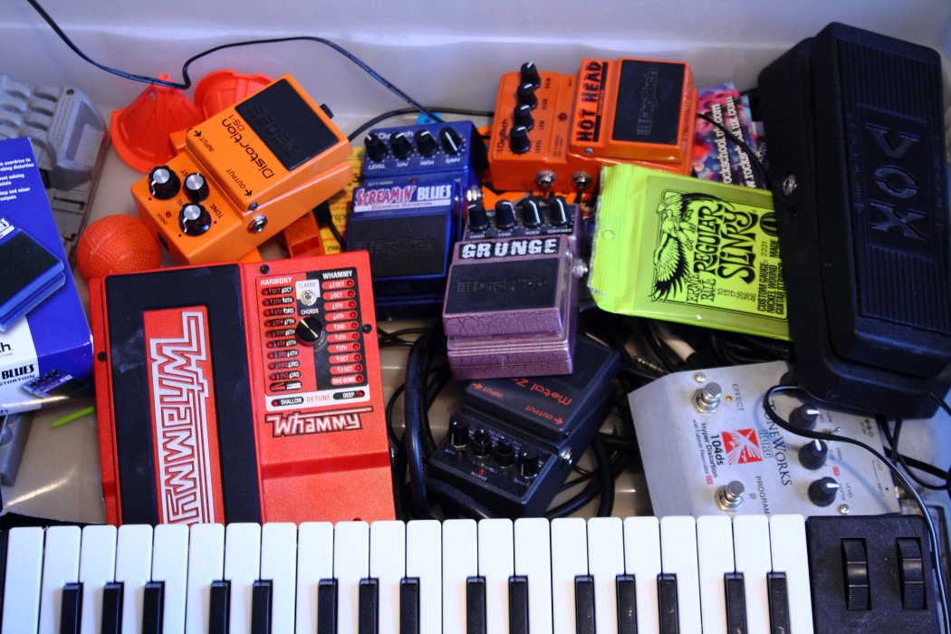 Image of gaming and musical equipment in a drawer