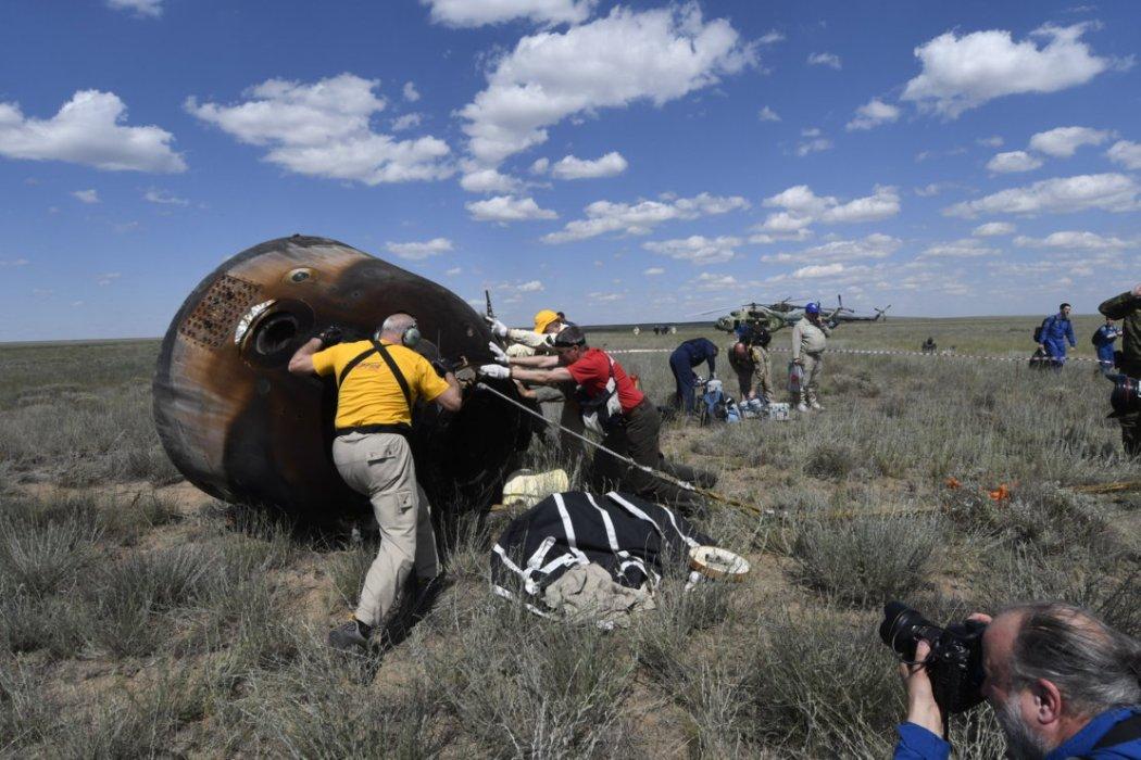 The Soyuz descent module after landing
