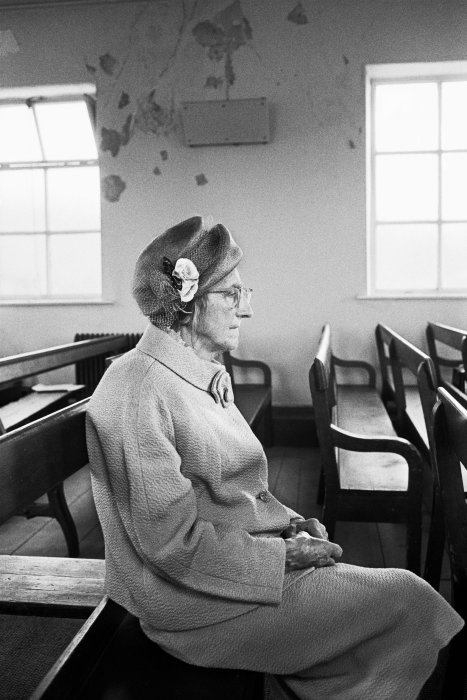 Sarah Hannah Greenwood at the anniversary service, Crimsworth Dean Methodist Chapel, 1976, Martin Parr © Martin Parr / Magnum Photos