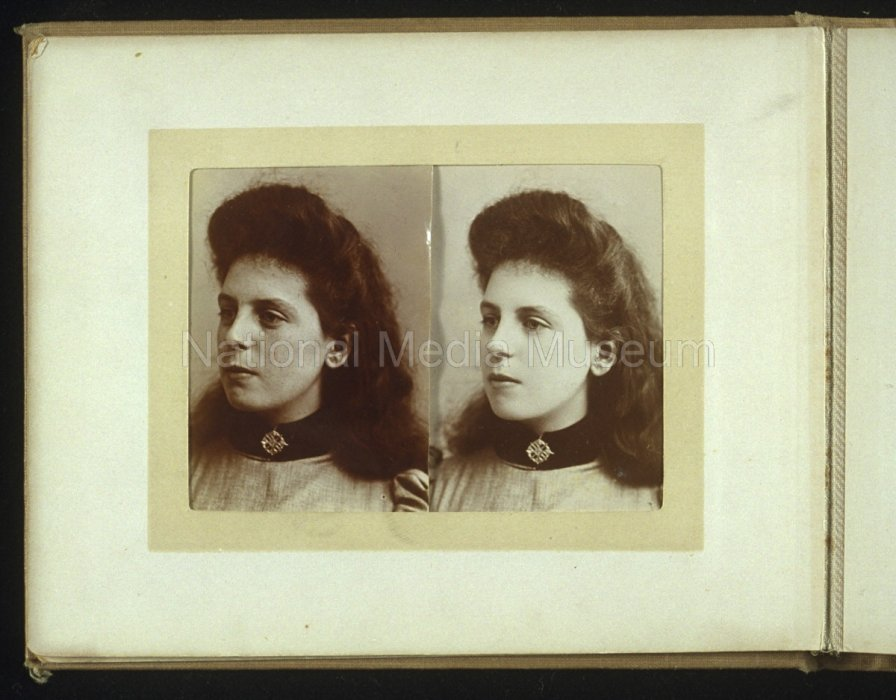 Two portraits of a young woman, before and after retouching, about 1910, unknown photographer