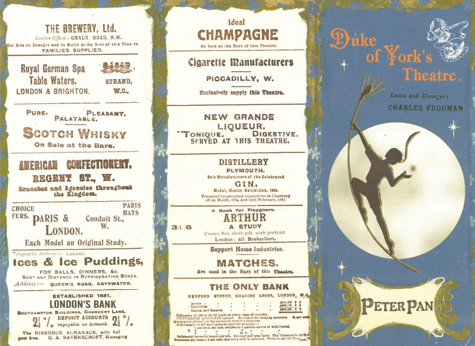 Programme for Peter Pan, c.1904, courtesy of Great Ormond Street Hospital Children's Charity