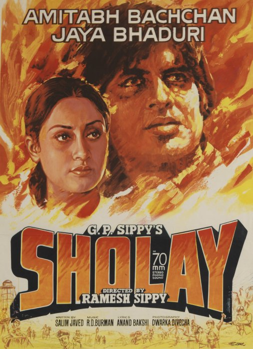 Sholay featuring Amitabh and Jaya Bachchan, 1975, Ramesh Sippy, Science Museum Group collection