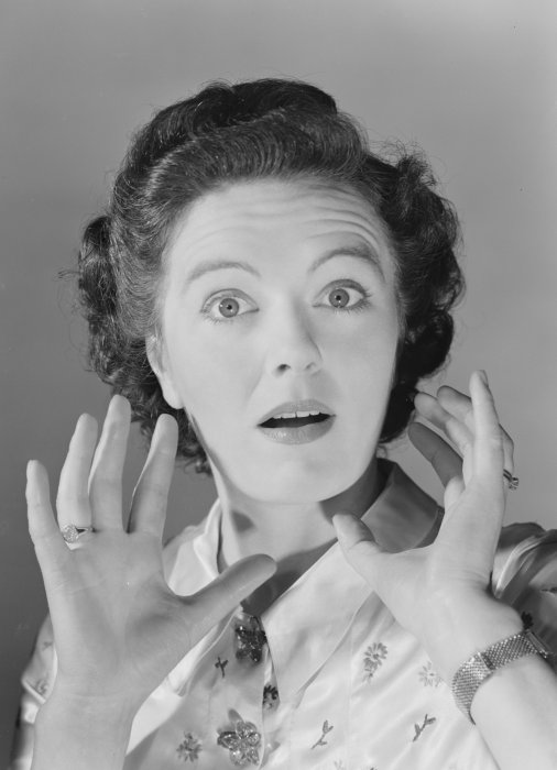 Surprised woman, about 1950, Photographic Advertising Agency