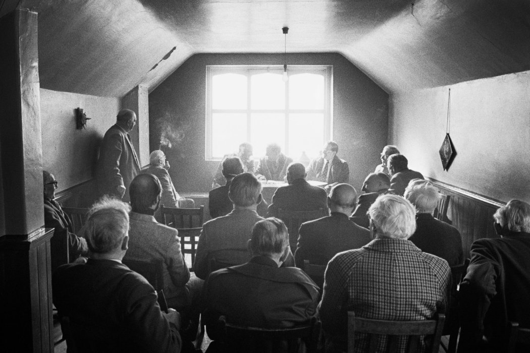 The Ancient Order of Hen-Pecked Husbands Annual General Meeting, Easter Monday, Nazebottom Chapel, 1977, Martin Parr