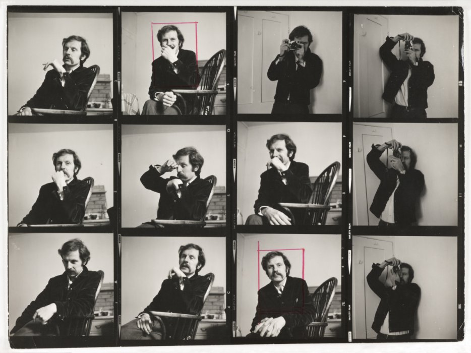 Contact sheet of portraits of Tony Ray-Jones, c.1970, Ainslie Ellis © Science Museum Group collection, courtesy of Anna Ray-Jones