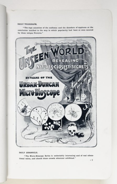 "Advertisement for ""The Unseen World"" micro-bioscope series, which included Smith's films of natural subjects."