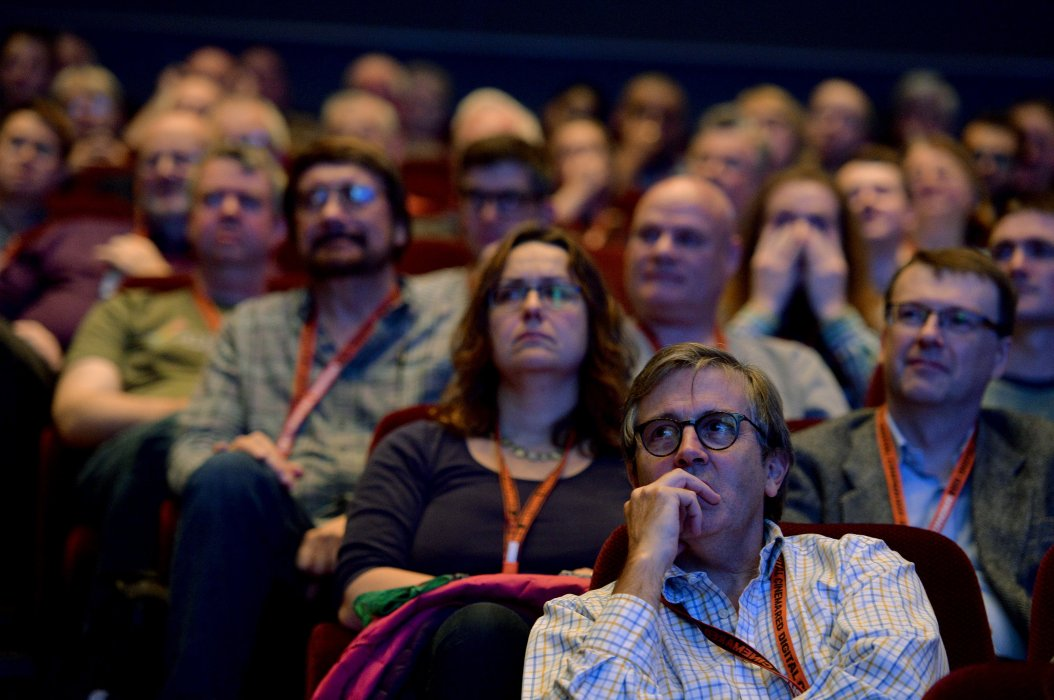 Festival attendees ready to watch a film at Widescreen Weekend 2017