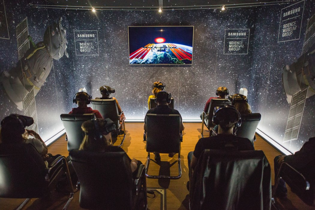 Visitors ready for the Space Descent VR experience