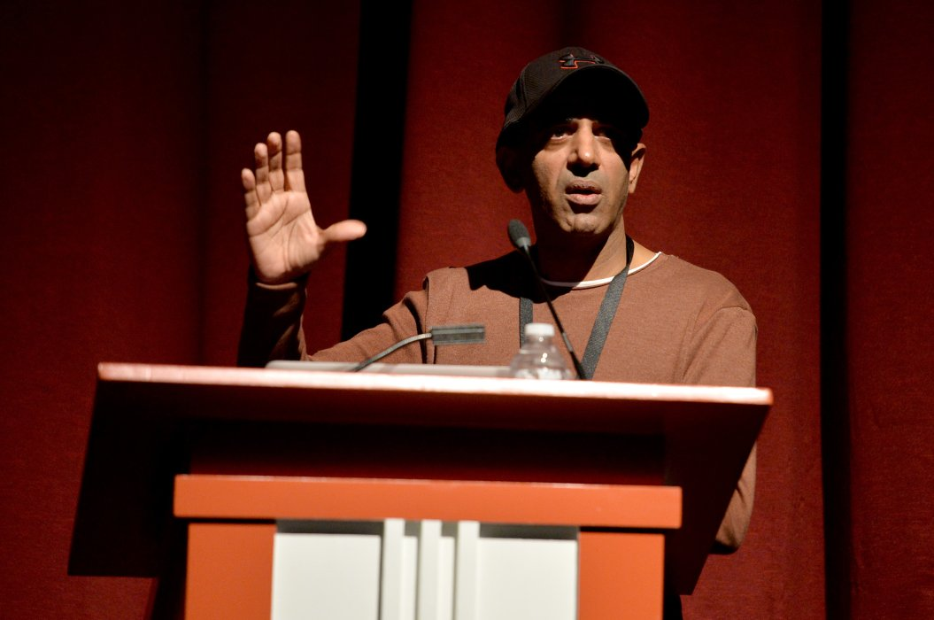 Iki Ikram speaking at Yorkshire Games Festival
