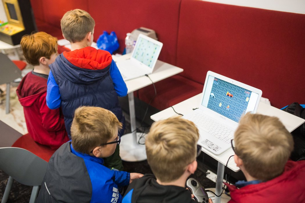 Children playing computer games at Yorkshire Games Festival
