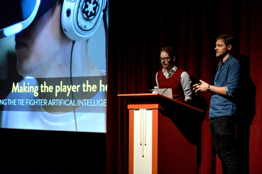 Kieran Crimmins and James Svensson of Criterion Games on stage
