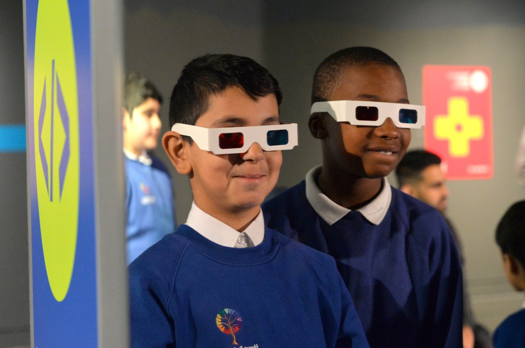 Schoolchildren testing 3D glasses at Yorkshire Games Festival Schools' Day