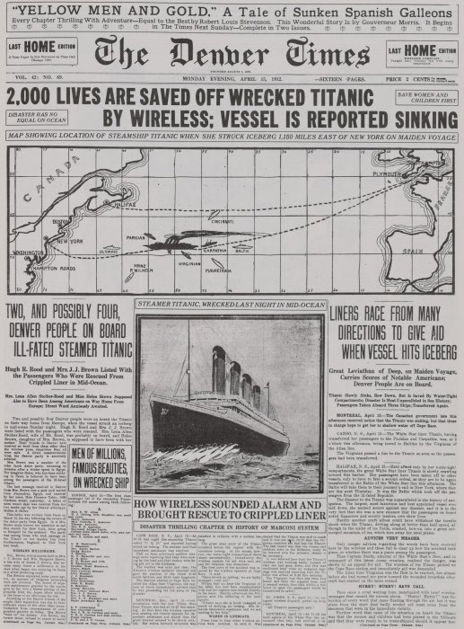 Front page of The Denver Times, 15 April 1912, with headline '2,000 lives are saved off wrecked Titanic'
