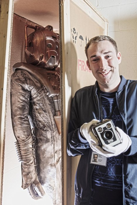 Image of a National Science and Media Museum volunteer with a Cyberman suit from Doctor Who