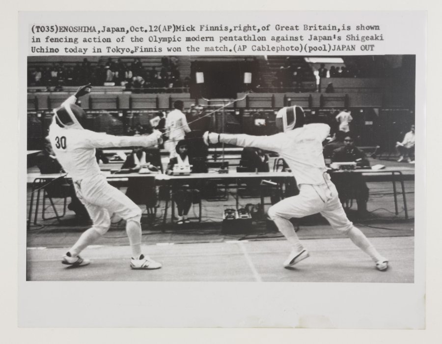 Photograph showing a fencing match at the 1964 Olympic Games