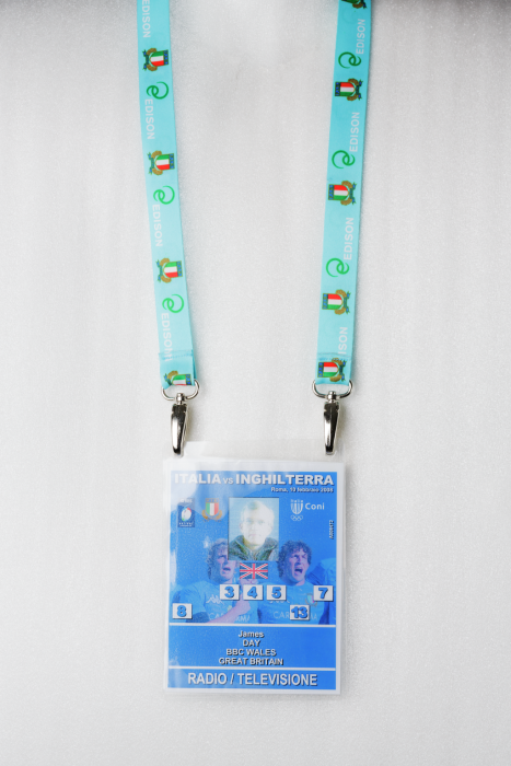 Media pass with lanyard for Italy vs England Six Nations Rugby Match, 2009