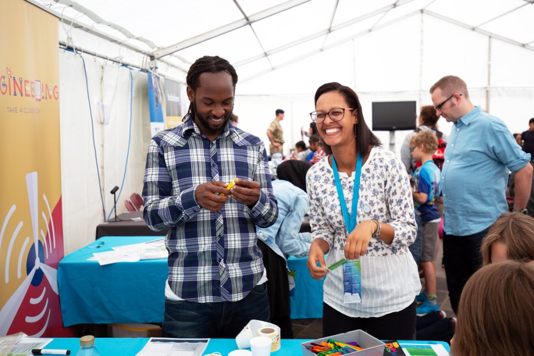 Volunteers share a laugh at Bradford Science Festival 2018