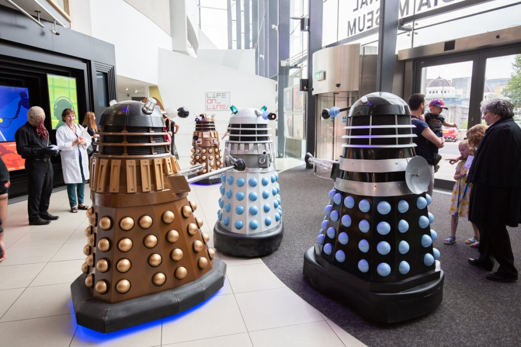 Three Daleks in the lobby of the National Science and Media Museum