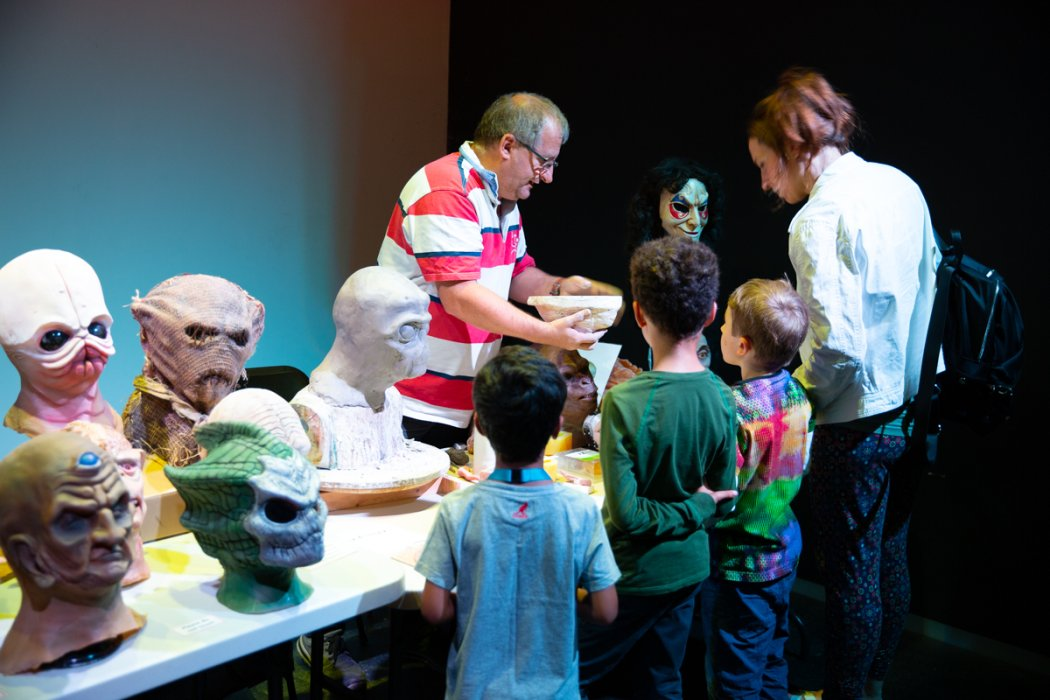 Special effects masks and models on display at the museum as part of Engineering a Timelord