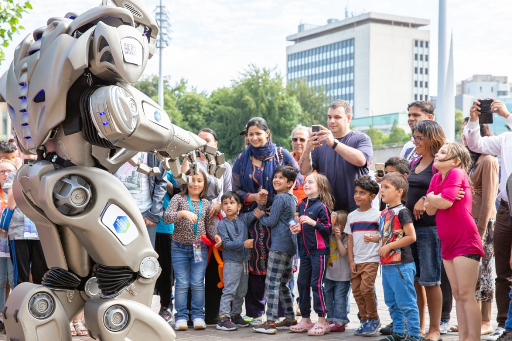 Titan the Robot entertains the crowd at Bradford Science Festival