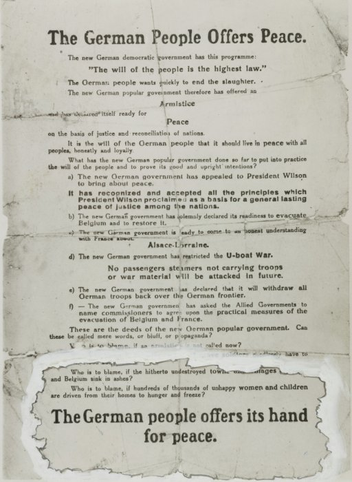'The German People Offers Peace'—leaflet dropped by airplane over Allied front lines near the end of the First World War