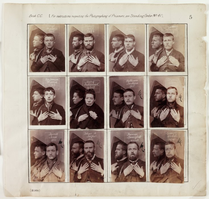 A page from an album of criminal register photographs