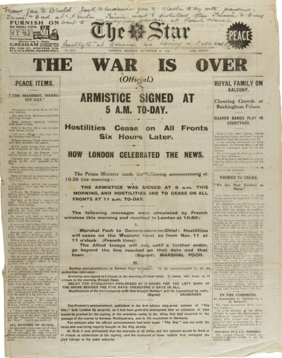 Front cover of The Star newspaper dated 11 November 1918 with headline 'The war is over'
