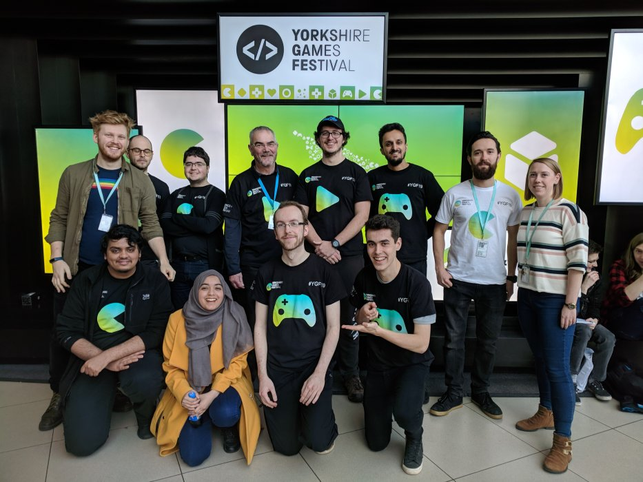 The Yorkshire Games Festival 2019 team and volunteers in the museum foyer