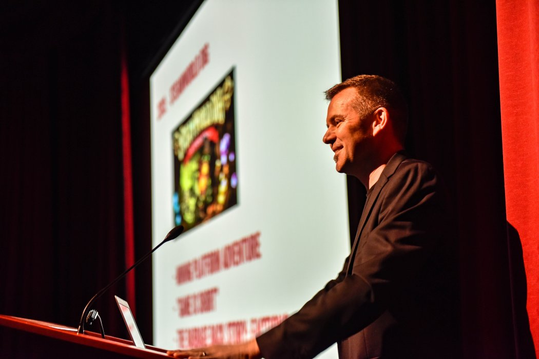 Brjann Sigurgeirsson on stage at Yorkshire Games Festival 2019