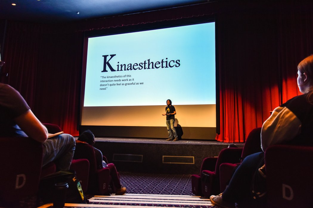 Rami Ismail on stage at Yorkshire Games Festival 2019
