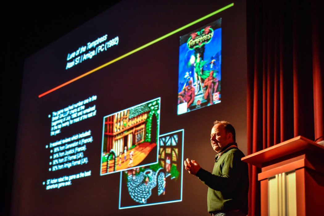 Charles Cecil is on stage at Yorkshire Games Festival 2019
